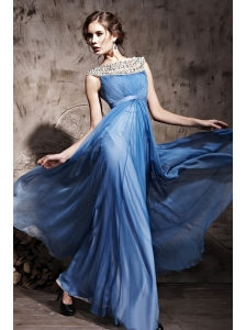 Sky Blue Empire Bateau Floor-length Chiffon Beading and Ruch Prom / Celebrity Dress