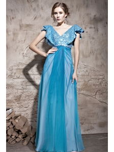 Teal Empire V-neck Floor-length Chiffon and Sequin Beading Prom Dress