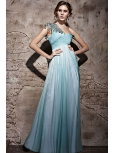 Baby Blue Empire One Shoulder Floor-length Chiffon Beading Prom / Evening Dress