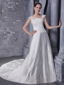 Pretty A-Line / Princess Square Neck Chapel Train Satin Beading and Appliques Wedding Dress