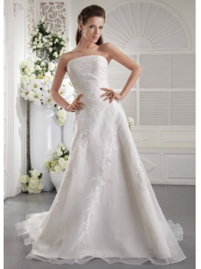 Beautiful A-Line / Princess Strapless Court Train Embroidery Organza Wedding Dress