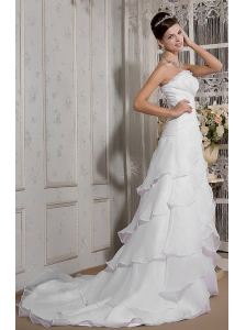 Beautiful A-Line / Princess Strapless Court Train Organza Beading Wedding Dress