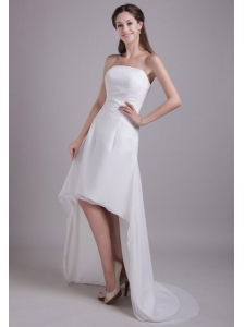 Fashionable A-Line / Princess Strapless High-low Elastic Wove Satin and Chiffon Beading Wedding Dress