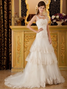 Elegant A-line / Princess Straps Court Train Tulle Lace and Beading Wedding Dress