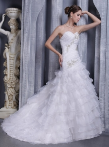 Brand New A-line / Princess Sweetheart Court Train Organza Appliques Wedding Dress