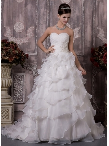 Elegant A-Line / Princess Sweetheart Court Train Satin and Organza Beading Wedding Dress