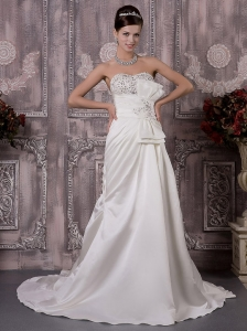 Exclusive A-Line / Princess Sweetheart Court Train Taffeta Beading Wedding Dress