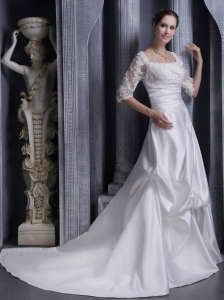 Affordable A-line Square Chaple Elastic Wove Satin Lace Wedding Dress