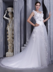 Gorgeous A-line Square Court Train Tulle Lace Wedding Dress