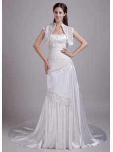 Beautiful Column / Sheath Strapless Brush Train Elastic Woven Satin Lace wedding Dress