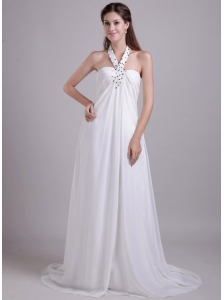 Formal Empire Halter Brush Train Chiffon Beading Beach Wedding Dress
