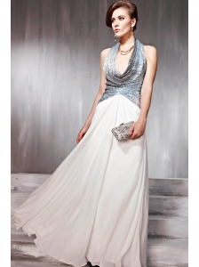 White Empire Halter Top Floor-length Chiffon Sequins Prom / Evening Dress