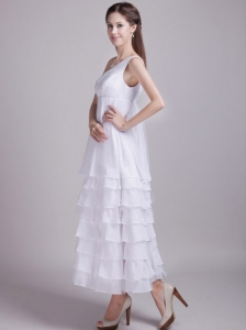 Exquisite Empire One Shoulder Ankle-length Chiffon Ruffles Beach Wedding Dress