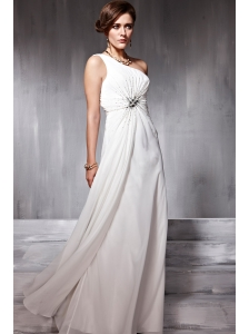 White Empire One Shoulder Floor-length Chiffon Beading Prom Dress