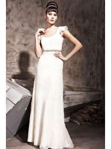White Empire Scoop Floor-length  Special Fabric Beading Prom /Celebrity Dress