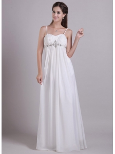 Cheap Empire Spaghetti Straps Floor-length Chiffon Beading Beach Wedding Dress