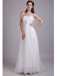Elegant Empire Sweetheart Brush Train Chiffon Beach Wedding Dress