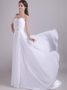 Affordable Empire Sweetheart Chapel Train Chiffon Beading Beach Wedding Dress