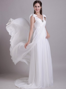 The most Popular Empire V-neck Brush Train Chiffon Beading Beach Wedding Dress