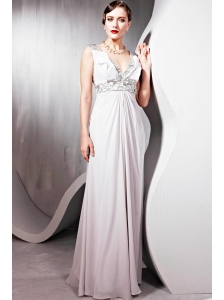 Grey Empire V-neck Floor-length Chiffon   Sequins Prom / Pageant Dress