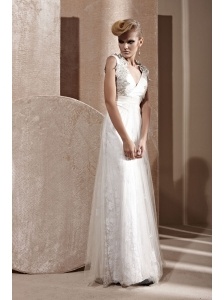 White Empire V-neck Floor-length Tulle Beading Prom Dress