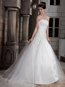Wonderful  Ball Gown Strapless Floor-length Tulle and Satin Appliques Wedding Dress