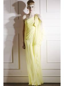 Yellow Column One Shoulder Floor-length Chiffon Sequins Prom Dress