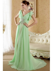 Yellow Green Empire V-neck Short Sleeves Court Train Chiffon Beading and Ruch Prom / Graduation Dress