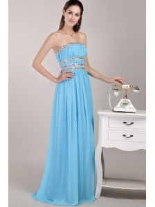 Aqua Blue Empire Strapless Floor-length Chiffon Beading Prom / Party Dress