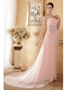 Baby Pink Empire Straps Court Train Chiffon Beading and Ruch Prom / Graduation Dress