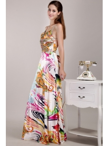 Beautiful Empire Straps Floor-length Print Beading Prom Dress