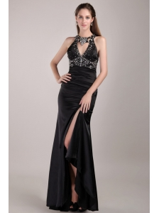 Black Column Scoop Floor-length Taffeta Rhinestones Prom Dress