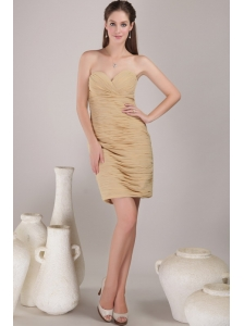 Champagne Sheath / Column Sweetheart Mini-length Chiffon Ruch Prom Dress