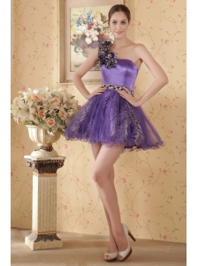 Eggplant A-line / Princess One Shoulder Mini-length Hand Flowers and Beading Prom / Cocktial Dress