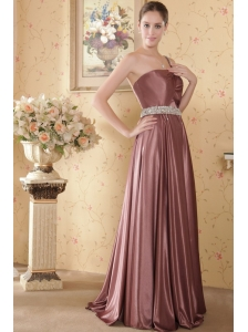 Elegant Empire One Shoulder Brush Train Elastic Woven Satin Beading and Ruch Prom / Graduation Dress