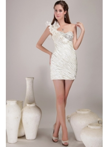 Elegant White Sheath / Column One Shoulder Mini-length Elastic Woven Satin Beading Prom / Homecoming Dress