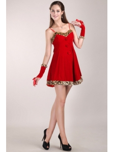 Red A-Line / Princess Strap Mini-length Leopard Prom Dress