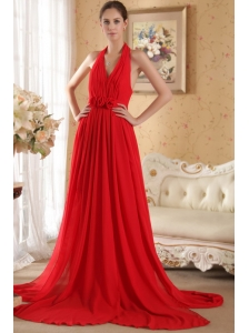 Red Column / Sheath Halter Court Train Chiffon Hand Made Flowers and Ruch Prom / Evening Dress