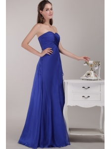 Royal Blue Empire Floor-length Sweetheart Chiffon Ruch Bridesmaid Dress