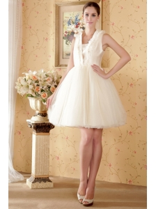 Sweet A-line / Princess Square Knee-length Net Beading and Ruch Wedding Dress