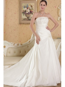 Perfect A-line Strapless Chapel Train Taffeta Appliques Wedding Dress