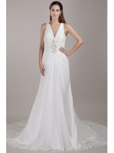 Gorgeous A-line V-neck Chapel Train Chiffon Appliques Wedding Dress