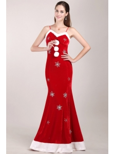White and Red Mermaid Straps Christmas Prom Dress with Silver Beading