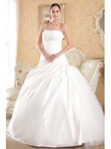 Classical Ball Gown Strapless Court Train Tulle and Taffeta Beading Wedding Dress