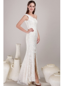 Sexy Column/Sheath One Shoulder Floor-length Lace Beading Wedding Dress