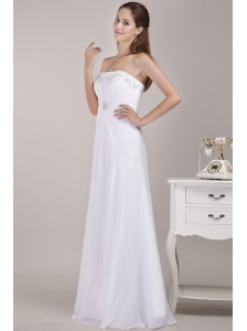 Latest Empire Strapless Floor-length Chiffon Beading Wedding Dress