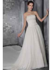 A-Line/Princess Strapless Cathedral Train Chiffon Pleat Wedding Dress
