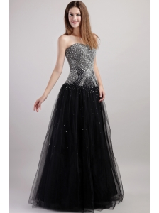 Black Column Strapless Floor-length Net Beading Prom / Celebrity Dress