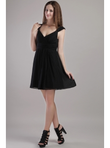 Black Empire V-neck Mini-length Chiffon Bridesmaid Dress