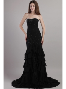 Black Trumpet / Mermaid Sweetheart Court Train Chiffon Beading Prom Dress